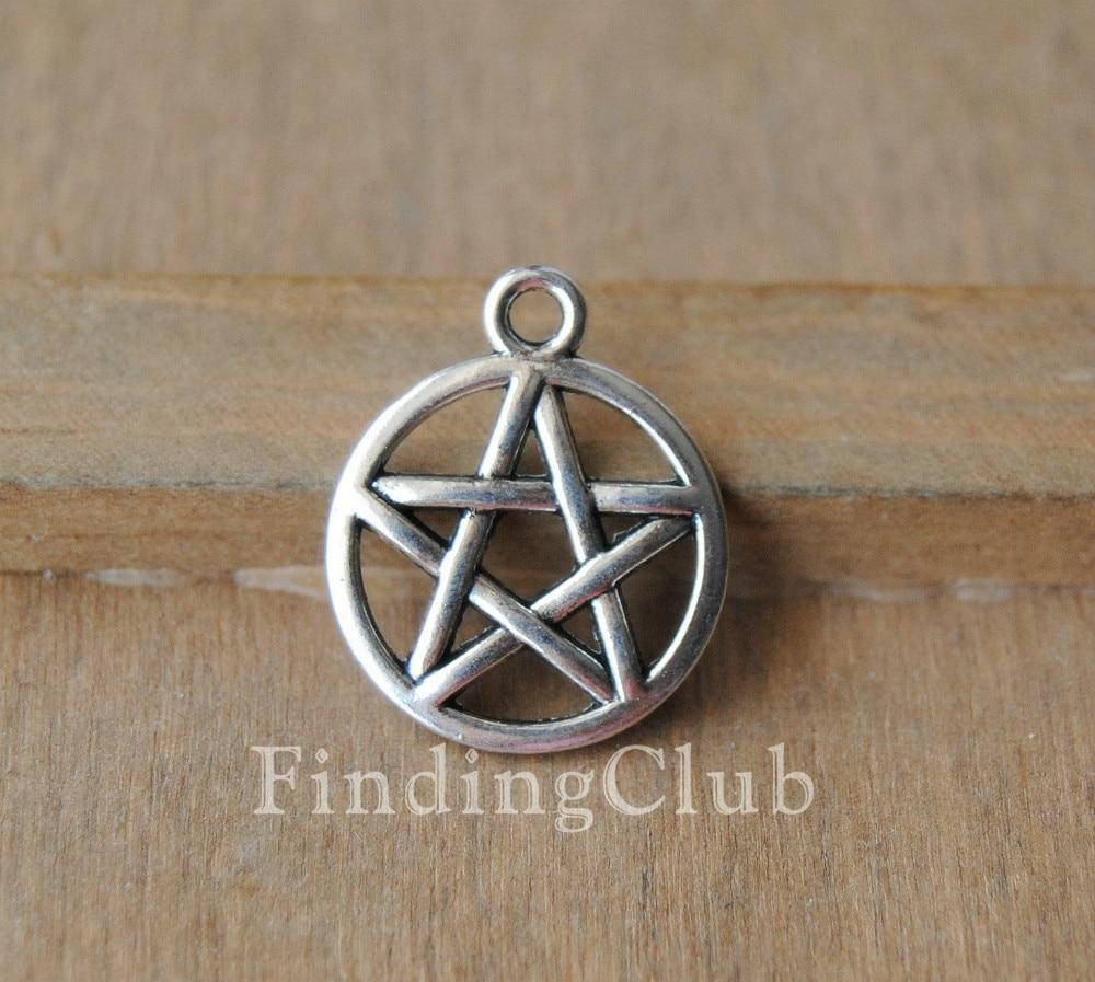 30 шт. серебряный цвет/бронза Wicca Звезда Давида Подвески металлический браслет ожерелье ювелирные изделия A326/A323