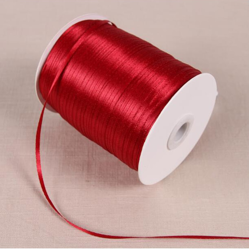 Cinta de satén de seda hecha a mano de 50 yardas de 3mm de ancho para manualidades, costura, decoración para fiesta de boda, papel de regalo