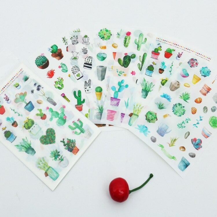 Set de 6 unidades de pegatinas con diseño de Cactus verde, para Scrapbooking, Kawaii, DIY, etiquetas adhesivas
