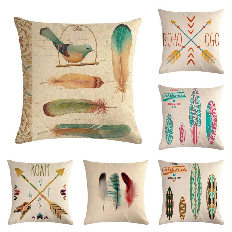 45cm * 45cm, diseño de flechas con plumas y tablas de surf, lino/algodón, funda de cojín, funda de cojín para sofá, almohadas decorativas para el hogar