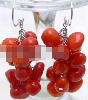 Vente chaude nouveau-shitou 00430 VENTE 8mm Rouge naturel BAROQUE Corail Balancent raisin boucle doreille et Argent