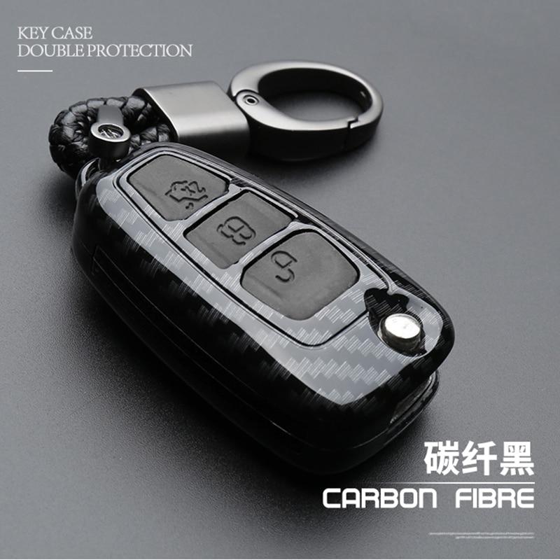 Carbon Fiber+Silicone Key Cover For Ford Fiesta mondeo mk4 fusion Ecosport Kuga Focus 2 Escape Car Flip folding Remote key Case