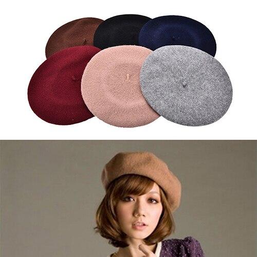 Горячая Распродажа, Женские винтажные Зимние береты, шапка, полушерстяная шляпа, берет, шапочка, подарки, 6 видов цветов, оптовая продажа, 1 шт.