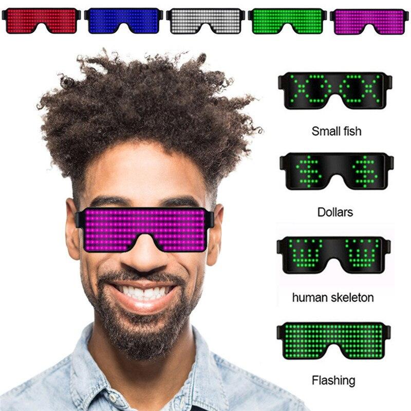 8 режимов быстрая вспышка USB Led для вечеринки USB зарядка светящиеся очки светящиеся солнцезащитные очки рождественское освещение концертов игрушки Рождественские украшения