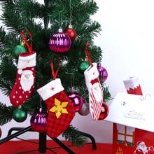 3 قطع عيد الميلاد الجورب الجوارب الحلوى حقيبة عيد الميلاد سانتا كلوز هدية حقيبة هدية الحلو تخزين أكياس عيد الميلاد شجرة شنقا الديكور