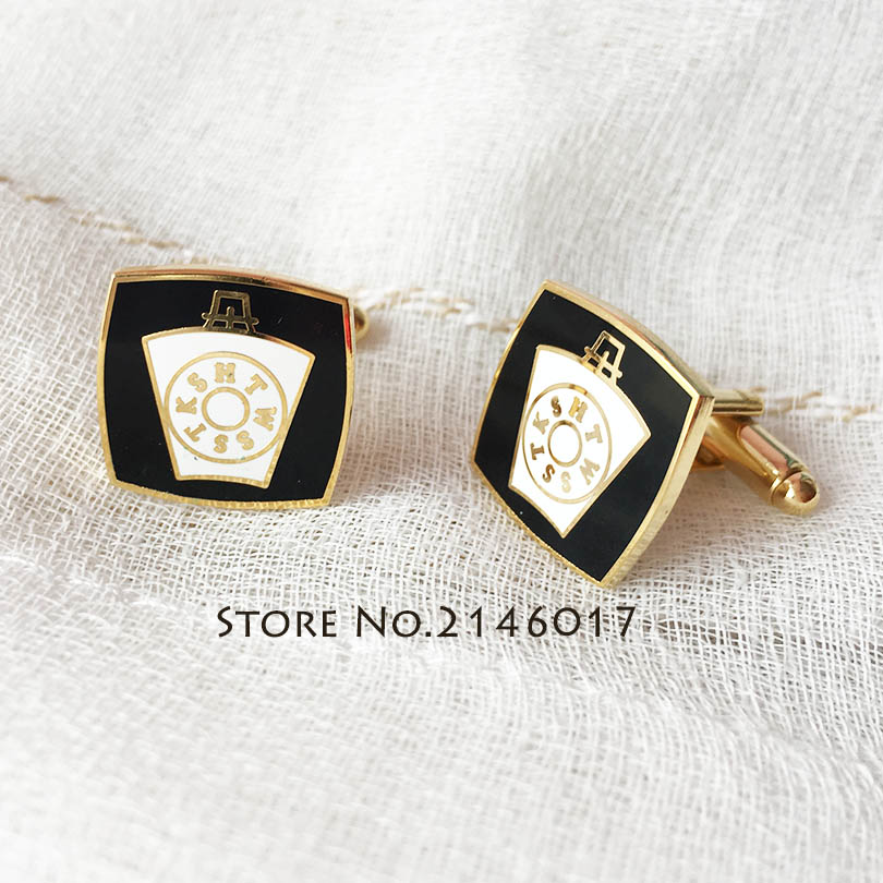10 pairs Wholesale Masonic Master Mason Cuff Links Freemasonry Royal Arch Freemason Mark Keystone Hard Enamel Sleeve Cufflink