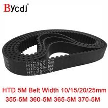 Arc HTD 5M Timing belt C=355/360/365/370 width10/15/20/25mm Teeth 71 72 73 74 HTD5M synchronous Belt 355-5M 360-5M 365-5M 370-5