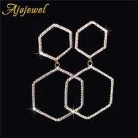 ajojewel full rhinestone drop earrings geometric shining jewelry women fashion accessories gift boucle d oreille
