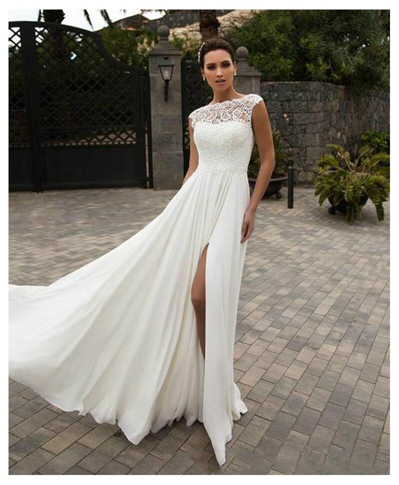 Купить с кэшбэком LORIE Boho Wedding Dress  A-Line Appliques Chiffon Bride Dress Custom Made High Split  Wedding Gown Free Shipping 2019