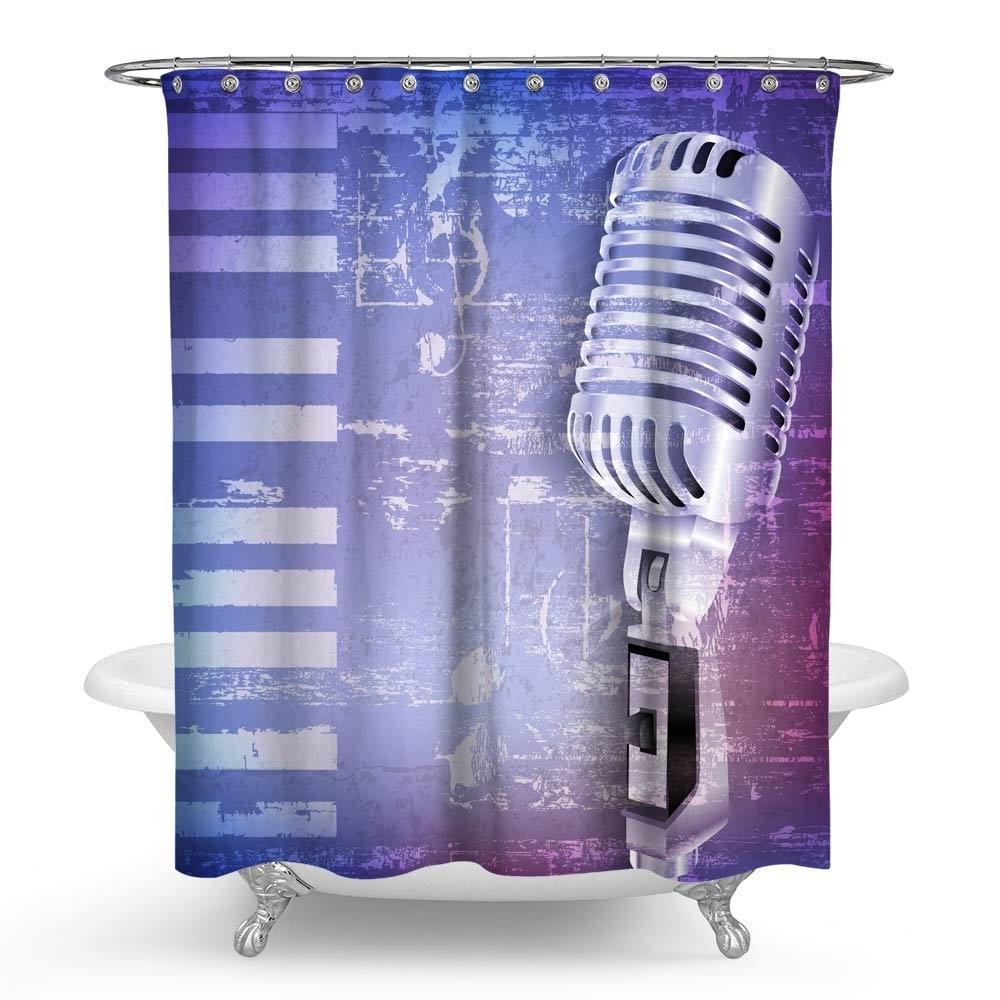 Música impermeable baño Arte Creativo instrumentos musicales Micorphone nota baño ducha cortina