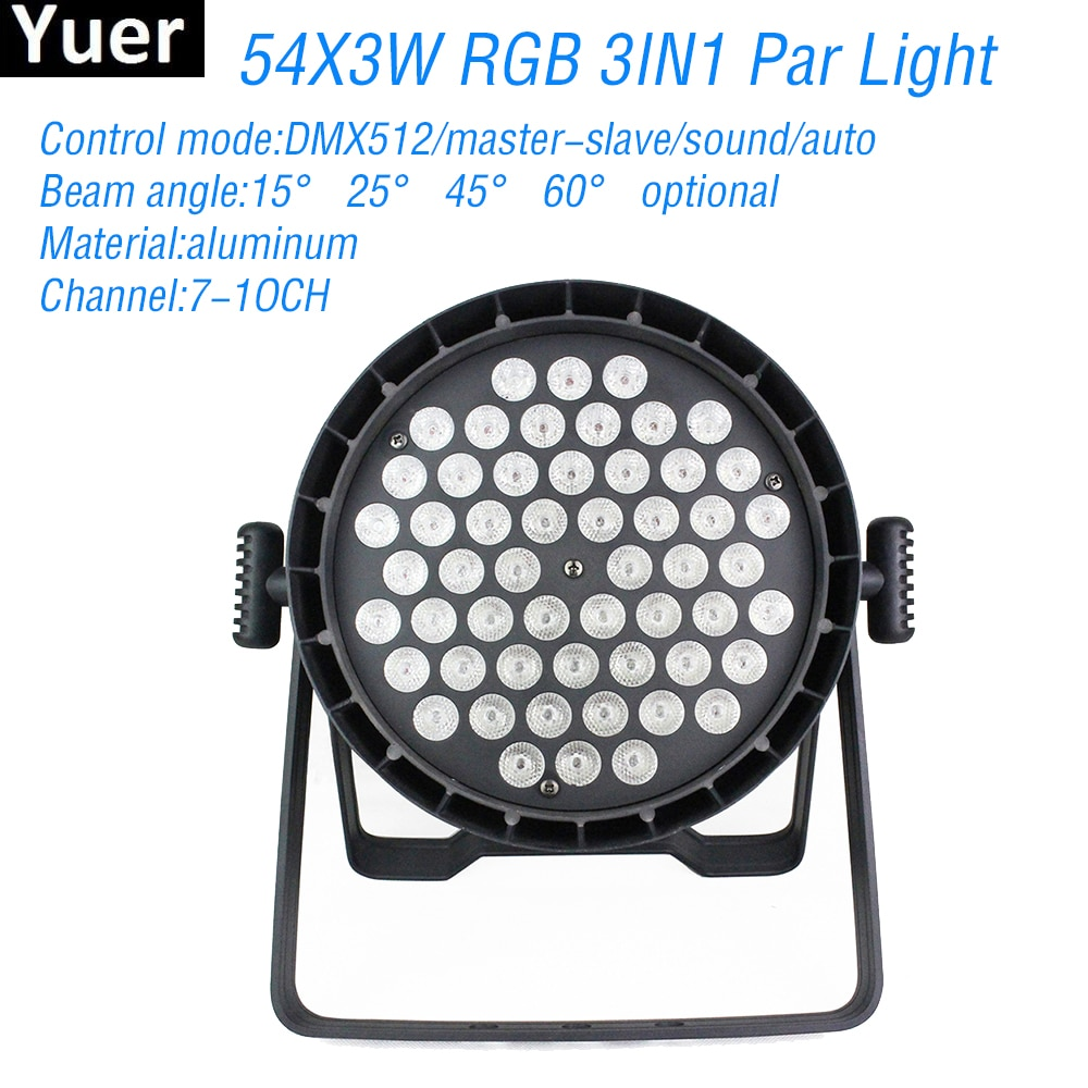 pack of 16 rasha stage light 12 15w 5in1 rgbaw wireless led par light wifi led slim par projector for wedding party event New Aluminum 54x3W RGB 3IN1 LED Stage Par Light DMX512 Stage Par Lighting 7-1OCH DJ Disco Light Wedding Party Club Bar Par Light
