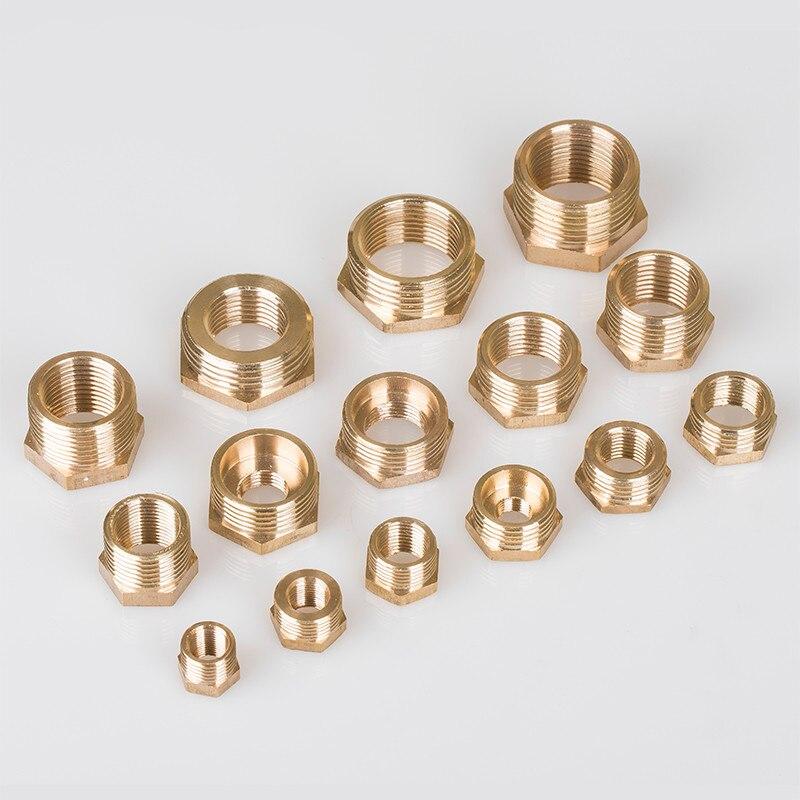 """Encaixe de tubulação de bronze hex redutor bucha 1/8 """"1/4"""" 3/8 """"1/2"""" 3/4 """"1"""" bsp rosqueado macho ao adaptador do conector do acoplador fêmea"""