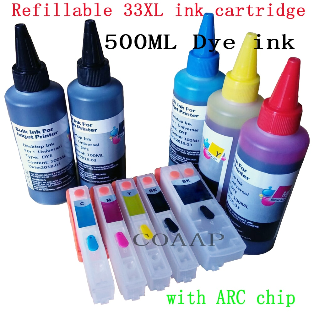 Refillable T3351-T3364 33XL Empty ink cartridge kit + 500ML dye inks for EPSON XP-530 XP-540 XP-630 XP-640 XP-635 XP-645