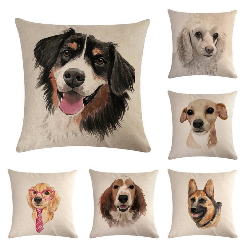 Cojín de lino de algodón para perro, funda de cojínes decorativos con patrón de BullDog Francés, cojín de acuarela Bull Terrier 45x45 cm, funda de almohada