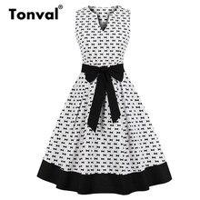 Tonval White Elegant Little Bow Print Rockabilly Dress Women V Neck Belted Retro Robe Femme Black Hem Vintage Dresses