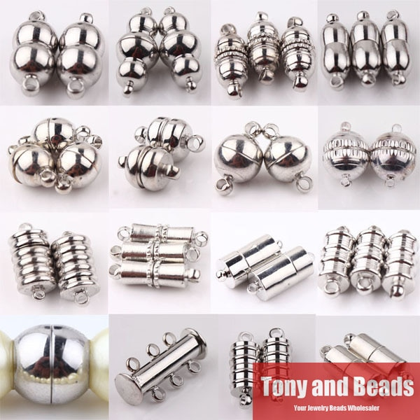 (10 комплектов = 1 партия!) Бесплатная доставка тусклые серебряные/посеребренные трубки баррель круглые прочные магнитные застежки пряжки ювелирных изделий в поисках CP1