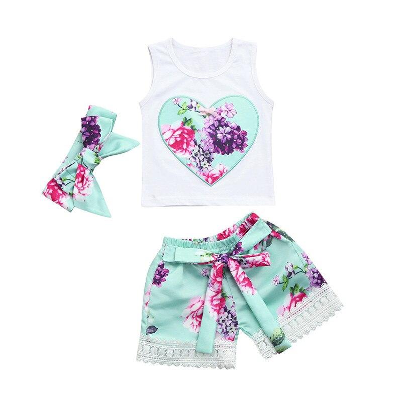 TELOTUNY 2018 moda 3 piezas Niño bebé Niñas Ropa Floral conjunto Tops + Pantalones cortos + diadema trajes ZY30