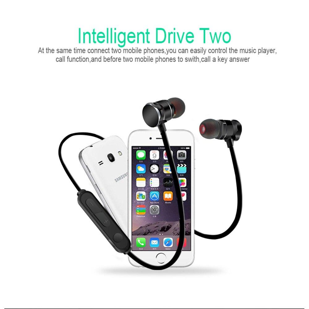 Bajo estéreo Bluetooth magnético en auriculares inalámbricos auriculares deportivos con micrófono para iPhone, Samsung