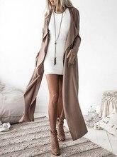 Femmes dames à manches longues hauts Cardigan cascade veste Outwear Long manteau vent manteau
