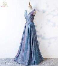 Bling Prom Dresses Sheer Hals Lichtblauw A-lijn Lange Crystal Avondjurken Formele vestido de graduacion Glitter Prom Jurk gewaden