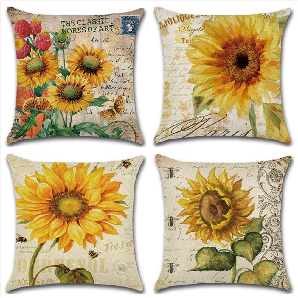 Planta flor letra conjunto funda de almohada aceite Paiting girasol funda de almohada 45x45 para coche sofá sala de estar decoración hecha a medida