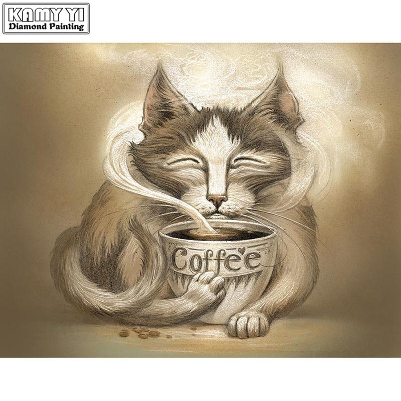 KAMY YI 5D DIY diamante pintura bordado café y gato completa/cuadrado/diamante redondo mosaico diamante pintura decoración YY