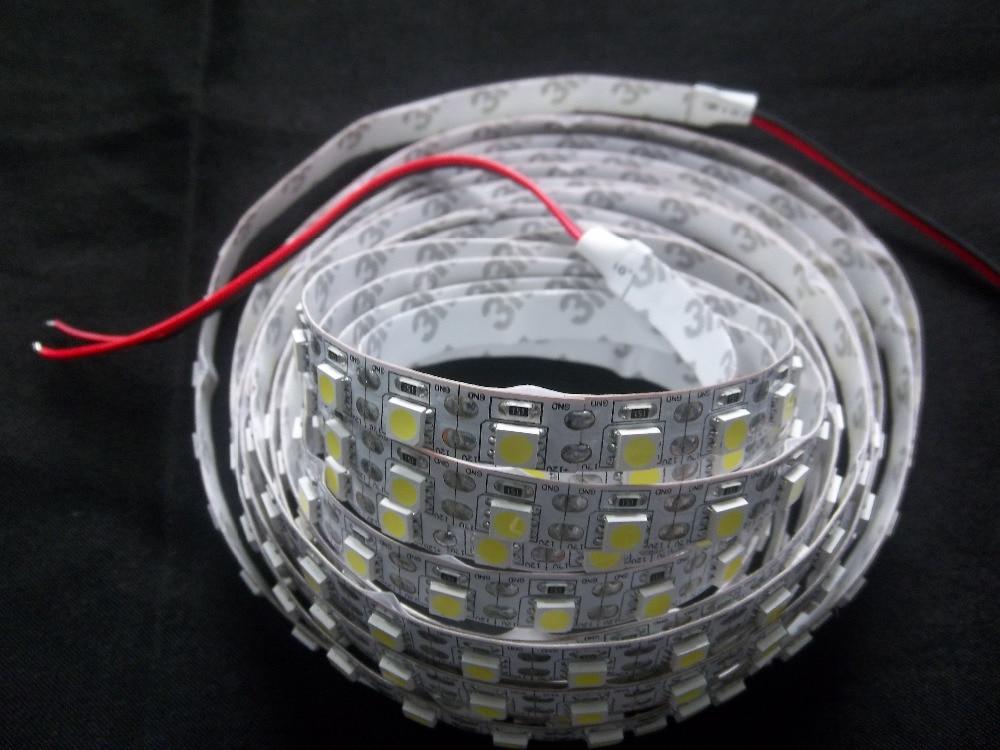 Envío Gratis, cinta personalizada de alto brillo DC12V 24V 360 leds/rollo IP20 SMD5050 Tiras LED doble FPC, cable dorado en el interior