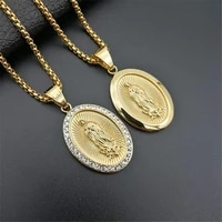 virgin mary pendant necklace for women girls gold color our lady jewelry wholesale colar madonna trendy chain