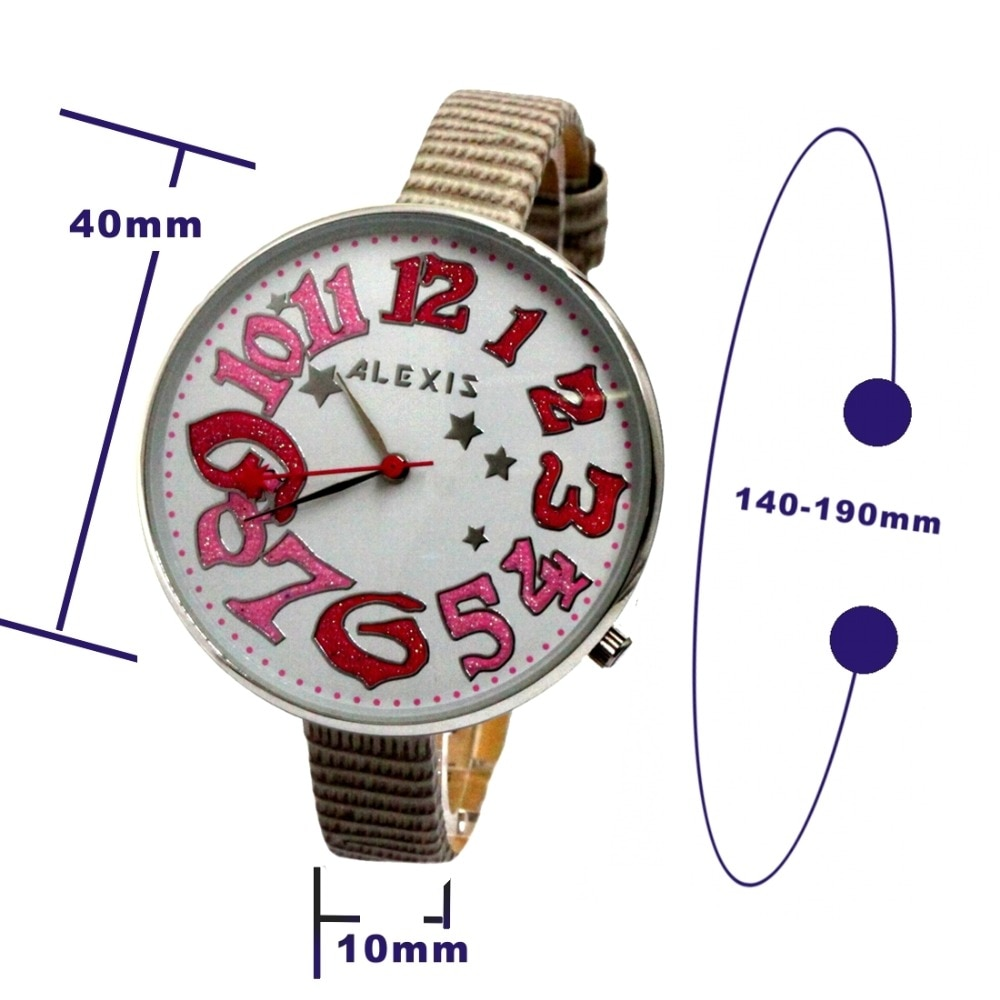 Alexis Female Analog Quartz Round Wrist Watch Japan PC21J Movement Light Gray Geninue Leather Band White Dial Water Resistant enlarge