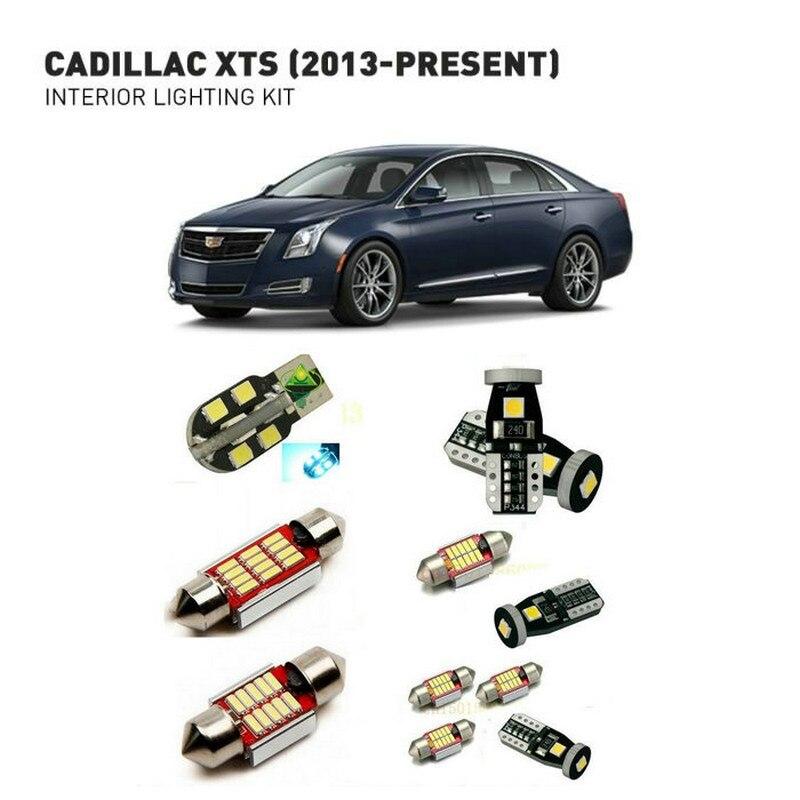 Luces interiores Led para Cadillac xts 2013-presenta 14 luces Led para coches kit de iluminación bulbos automotrices Canbus sin Error