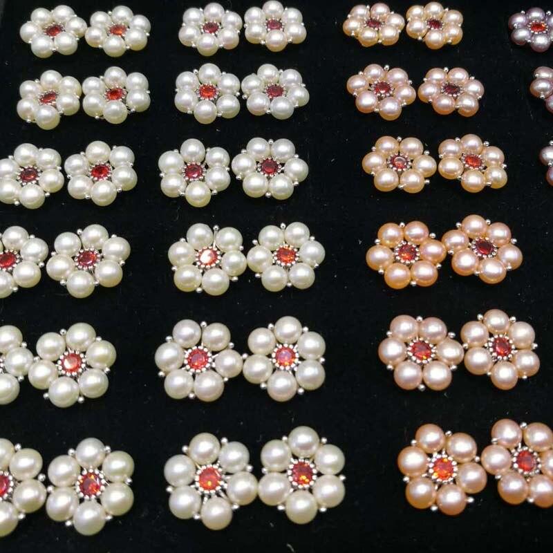 36 pares flor pérola de água doce 925 brincos de prata das mulheres
