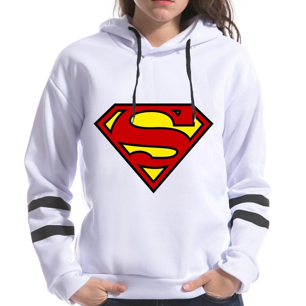 2018 Superman Girls imprimir mujeres sudaderas con capucha de manga larga Harajuku para mujer primavera sudaderas Tops