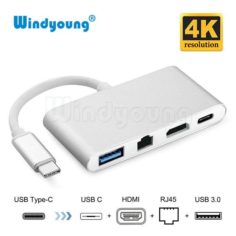 Windyoung 4 em 1 USB-C Adaptador Hub USB 3.1 para HDMI Tipo C 4K + Gigabit Ethernet RJ45 + conversor De Vídeo USB 3.0 Multilport Digitatal