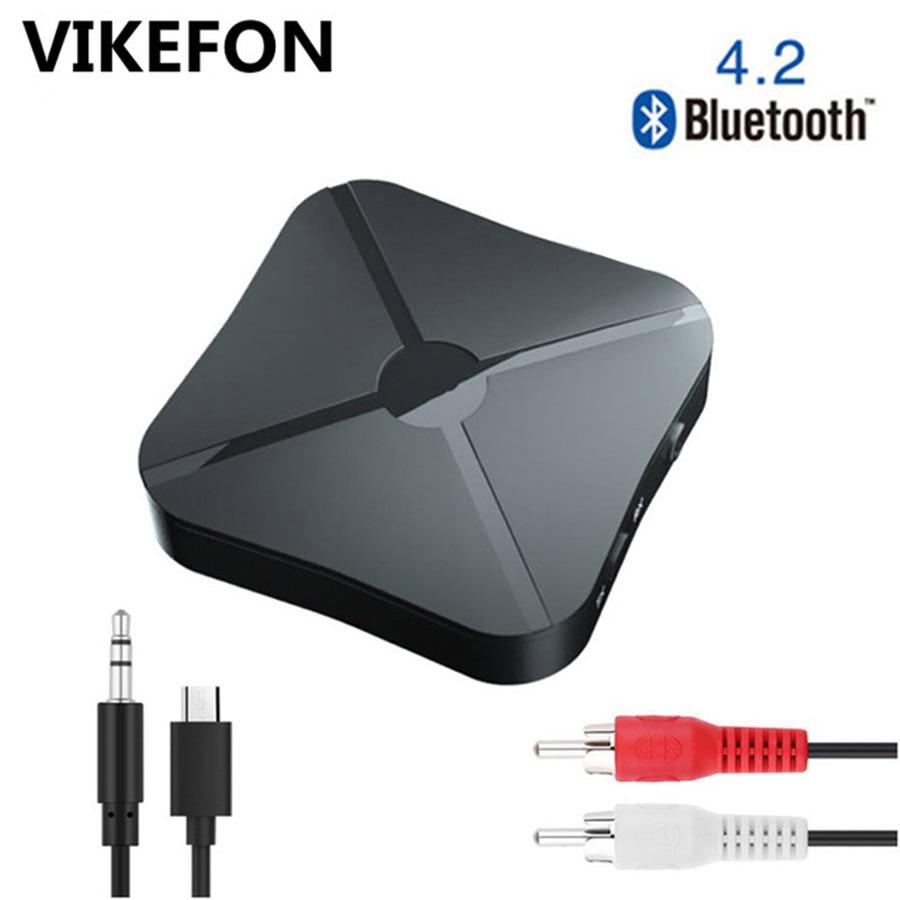 VIKEFON Bluetooth 5,0 4,2 receptor y transmisor Audio música estéreo adaptador inalámbrico RCA 3,5 MM AUX Jack para altavoz TV coche PC