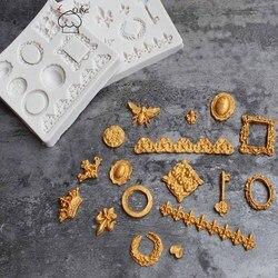 Aouke Форма 3D силиконовая винтажная оправа кружевная отделка моделирование украшения торта Форма для выпечки Посуда шоколадная форма