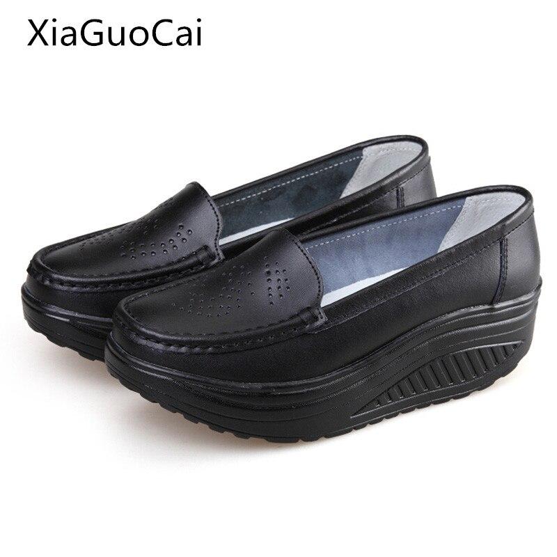 Mulheres plataforma primavera sapatos casuais slip-on sapatos de couro genuíno mãe sapatos Agitar cunhas enfermeira sapatos x1092 35