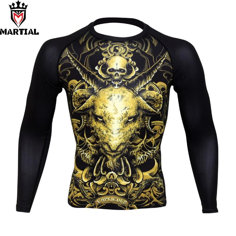 Artes marciais capricórnio constellation design original boxing jerseys ginásio camiseta wrestling roupas de manga longa camisetas para esportes