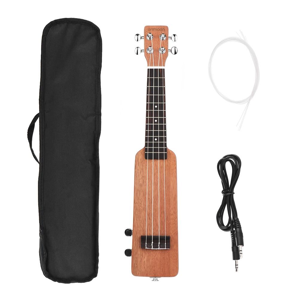 "ammoon 21"" Solid Wood Okoume Electric Ukulele Ukelele with 3.5mm & 6.35mm Outputs 4pcs Extra Strings Mini Electric Guitar"