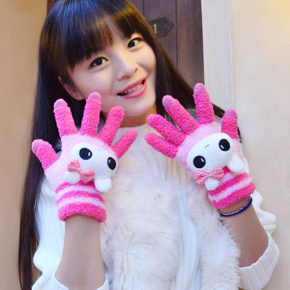 Cartoon lovely adorable girls warm autumn gloves winter touch screen gloves