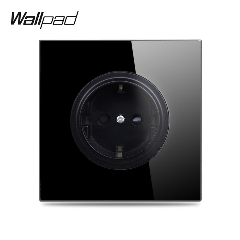 Wallpad L6-مقبس حائط من الزجاج المقوى الأسود ، مقبس حائط أوروبي ، مخرج ألماني ، تصميم دائري 16 أمبير