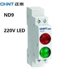 O piloto de chint nd9 ilumina o trilho modular do ruído do verde vermelho 220 v do diodo emissor de luz