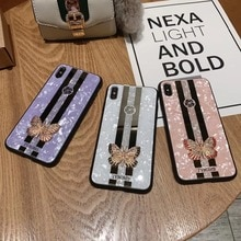 Чехол с алмазной бабочкой для iphone 6 6s 7 8 Plus X XR XS MAX с текстурой ракушек, задняя крышка 6plus 7plus 8 plus, шикарные чехлы