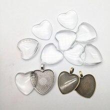 10 pièces Antique argent coeur collier pendentif réglage alliage lunette t pour bijoux à bricoler soi-même faisant HK150