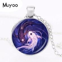 Yin Yang poisson collier Ying et Yang Tai pendentif bijoux taoïsme chinois huit diagrammes motif bijoux verre dôme tour de cou HZ1
