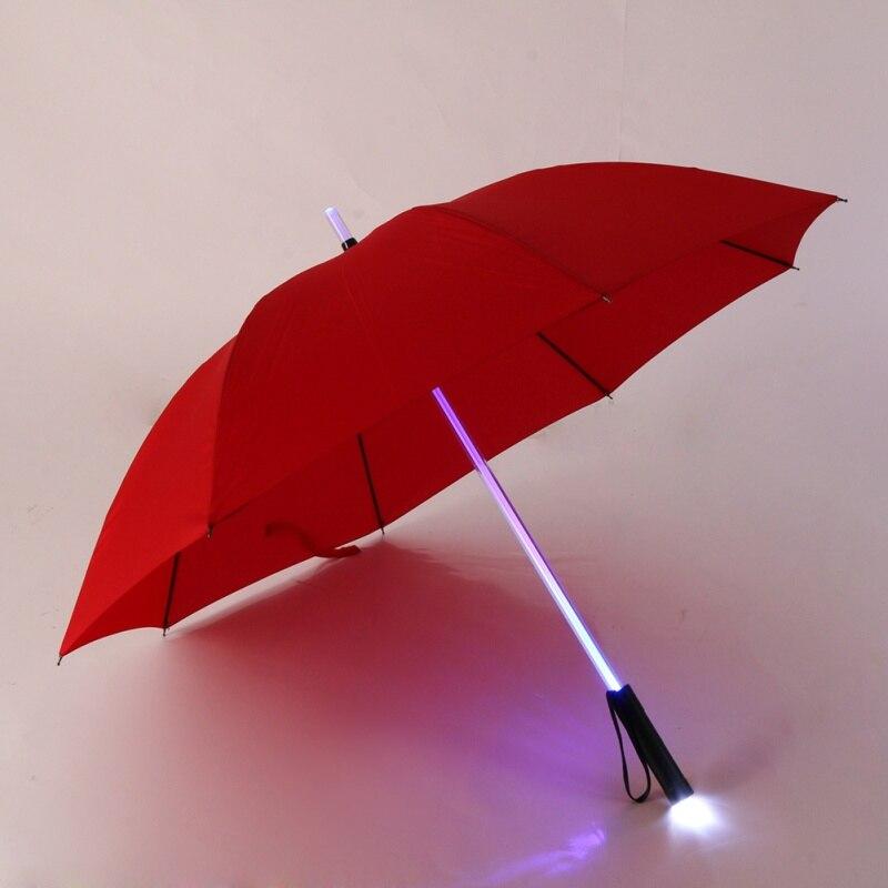 LEVOU sabre de Luz Em Mudança no Eixo/Construído em Tocha Flash de Luz Guarda-chuva Up Guarda espada Laser de Luz para cima golf Guarda