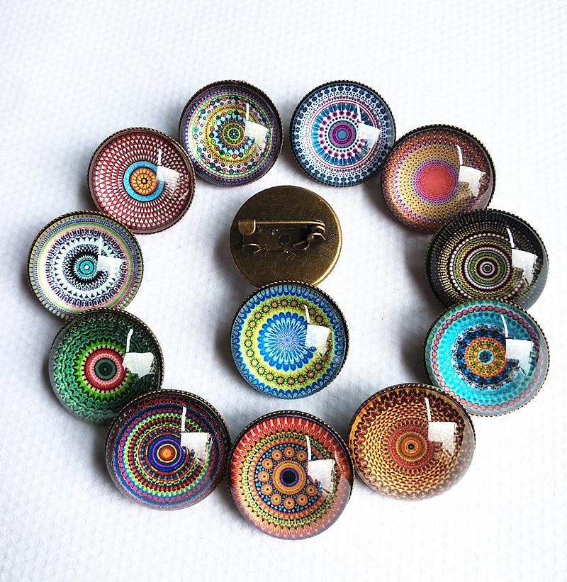 Jiangzimei 30 unids/lote estilo indio mandala cabujones de vidrio étnico retro-estilo Bandana broche de mano regalo de fiesta al por mayor
