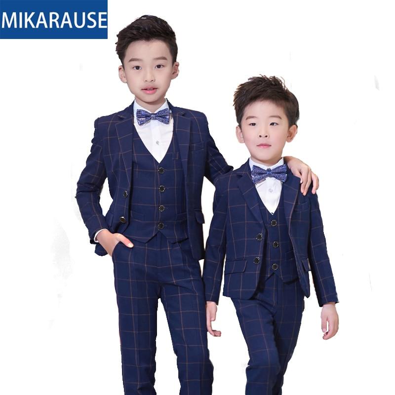 Kids Slim Fit Wool Plaid Boys Wedding Suits Boy Blazers Formal suit sets Notched Tuxedos teenage party dress blazer
