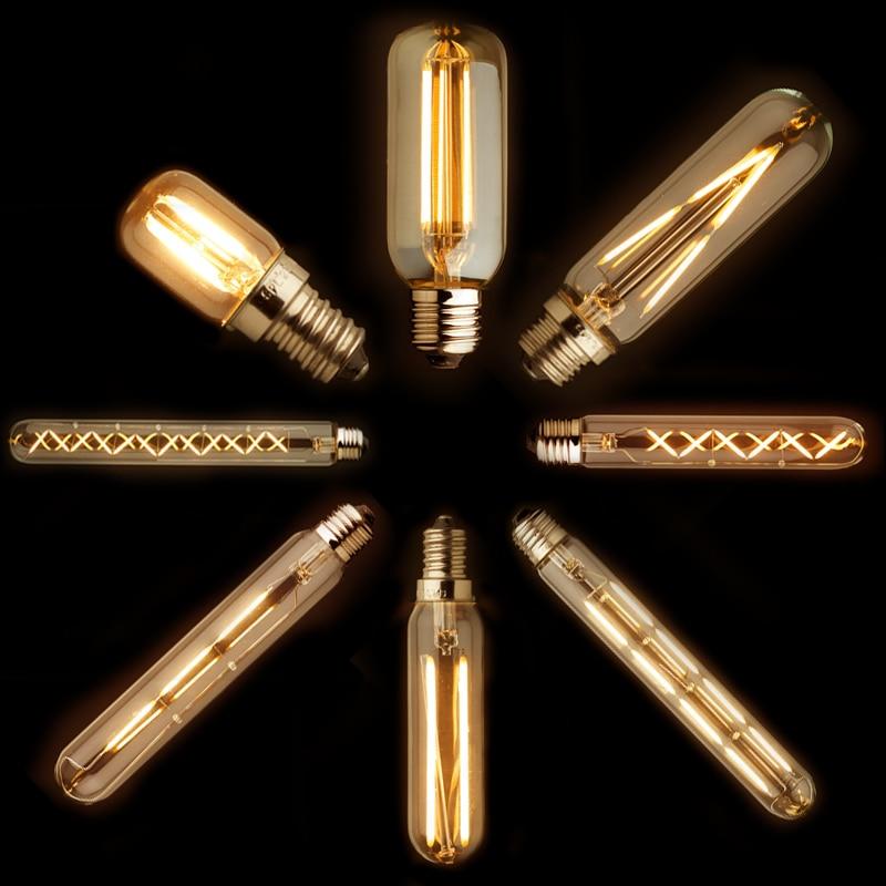 5 uds., lámpara led de filamento retro edison T20 T30 T45, lámpara LED e27 e12, Bombilla incandescente, novedosas luces para decoración del hogar