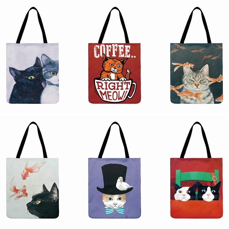 Precioso gato estampado Casual bolsa de playa de tela de lino bolsa de dibujos animados Meow ilustración bolsa de mano para mujer bolsa de compras reutilizable