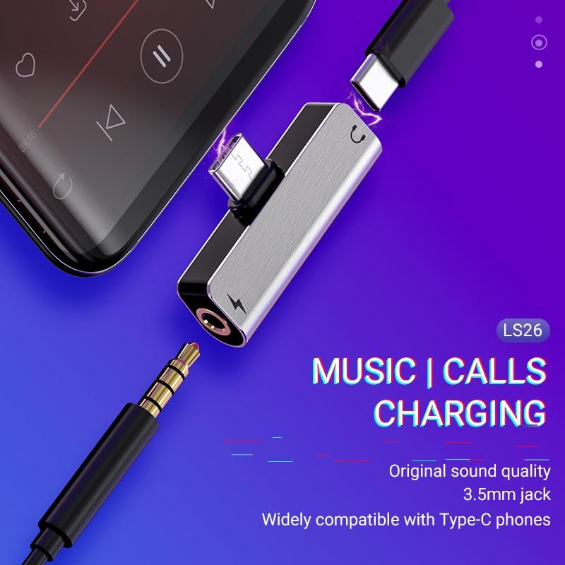 Convertidor de audio hoco tipo C a 3,5 jack 2 en 1 cargador divisor auxiliar portátil USB C auriculares dongle auriculares Adaptador de audio